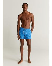 Mango Marine Print Swimming Trunks - Blue