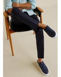 Mango Pebbled Leather Trainers - Blue