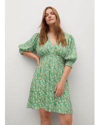 Violeta by Mango Floral Print Dress - Green
