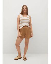 Violeta by Mango 100% Lyocell Shorts - Brown
