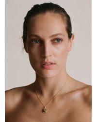 Mango Pendant Long Necklace Gold - Metallic