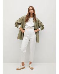 Mango Elastic Waist Trousers - White