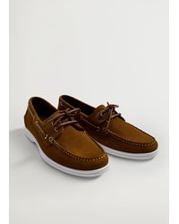 Mango Suede Driving Shoes Medium Brown