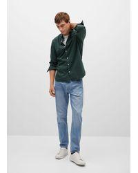 Mango Slim Fit Structured Cotton Shirt Khaki - Multicolor