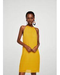 Mango - Textured Ruffled Dress - Lyst