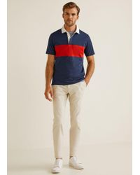 Mango - Contrasting Stripe Polo Shirt - Lyst