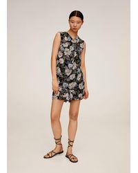 Mango - Floral-print Flowy Blouse Black - Lyst