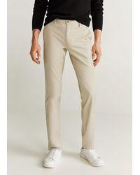 Mango Slim Fit Chino Pants Beige - Natural