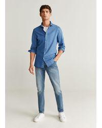 Mango Slim Fit Cotton Chambray Shirt Light Blue