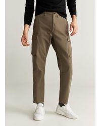 Mango Cotton Cargo Trousers Khaki - Natural