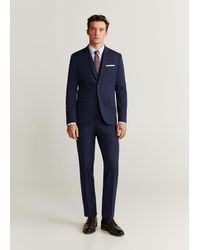 Mango Stretch Katoenen Super Slim-fit Tailored Overhemd - Blauw