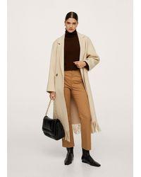 Mango Flare Crop Trousers - Brown