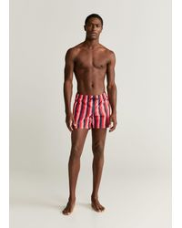 Mango Striped Swimming Trunks - Red