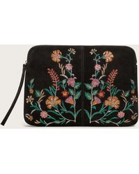 Violeta by Mango - Embroidered Leather Clutch - Lyst