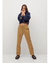 Mango Elastic Waist Cotton Trousers - Natural