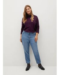 Mango Turtleneck Knit Sweater Maroon - Blue
