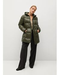 Violeta by Mango Hood Quilted Coat - Green