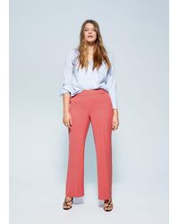 Violeta by Mango Straight Suit Trousers - Pink