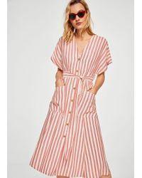Mango - Striped Midi Dress - Lyst