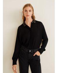 Mango - Beaded Collar Shirt - Lyst