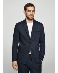 Mango - Linen Fine-stripe Suit Blazer - Lyst