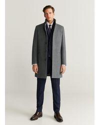 Mango Tailored Wool-blend Overcoat - Gray