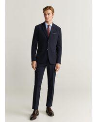 Mango Gestreept Tailored Slim-fit Overhemd - Blauw