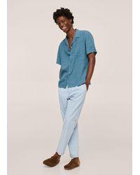 Mango Camicia regular-fit lino bowling - Blu