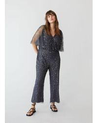 Violeta by Mango Sequins Long Jumpsuit - Grey