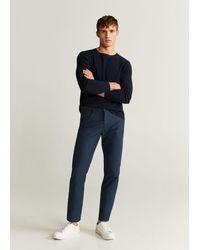 Mango Slim-fit Linen Cotton Trousers Navy - Blue
