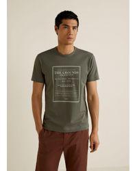 Mango - Text Cotton T-shirt - Lyst