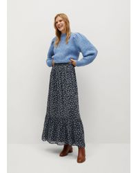 Mango Floral Print Skirt - Brown