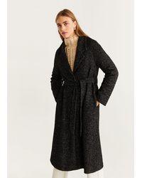 Mango Belted Wool Coat - Black
