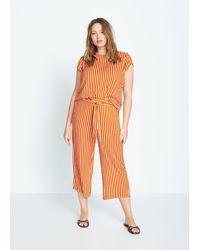 Mango Belt Culottes Trousers - Orange
