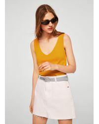 Mango - Fine Knit Top - Lyst