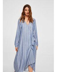 Mango - Striped Wrap Dress - Lyst