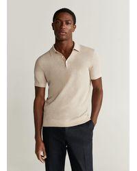 Mango Textured Knit Cotton Polo - Natural