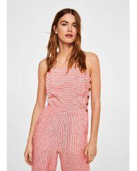 Mango | Linen-blend Striped Jumpsuit | Lyst