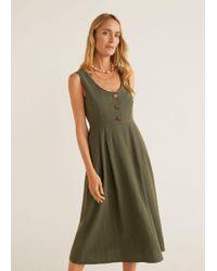 d29d9eea4a Lyst - Mango Ruffled Linen Dress in Natural