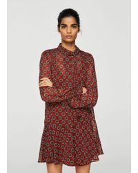 Mango - Printed Bow Dress - Lyst