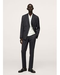 Mango Slim Fit Checked Double Breasted Suit Blazer - Grey