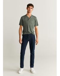 Mango 100% Linen Henley T-shirt - Green