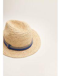 Mango - Straw Fedora Hat - Lyst