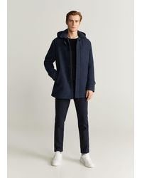 Mango - Detachable Hood Wool Coat Dark Navy - Lyst