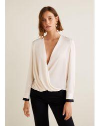 Mango - Wrap V-neckline Blouse - Lyst