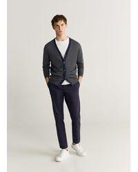 Mango Contrast Wool-blend Cardigan - Grey