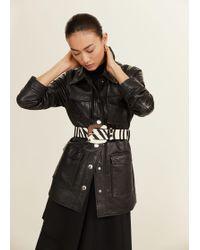 Mango - Zebra Leather Belt - Lyst