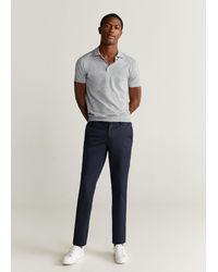 Mango Cotton Linen Knit Polo - Grey