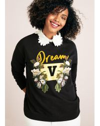 Violeta by Mango - Detachable Neck Embroidered Sweatshirt - Lyst