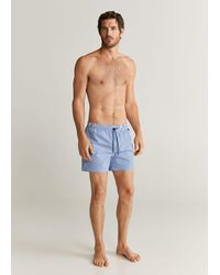 Mango Seersucker Swimming Trunks Blue